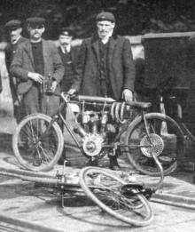 An early picture of Anzani with one of his pacing bikes